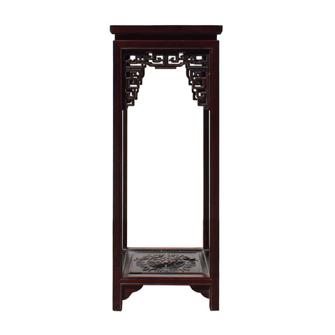 Oriental Huali Dark Brown Square Carving Plant Stand Pedestal Table