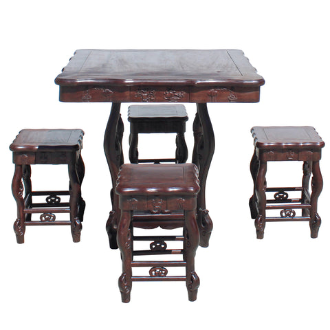 Chinese Dark Brown Huali Rosewood Square Table Chair 5 Pieces Set cs4217S
