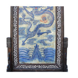 Chinese Blue White Dragon Theme Porcelain Wood Panel Divider Floor Screen cs4223S