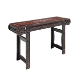 Chinese Brown Huali Rosewood Scroll Inlay Deer Fortune Motif Altar Table cs4227S
