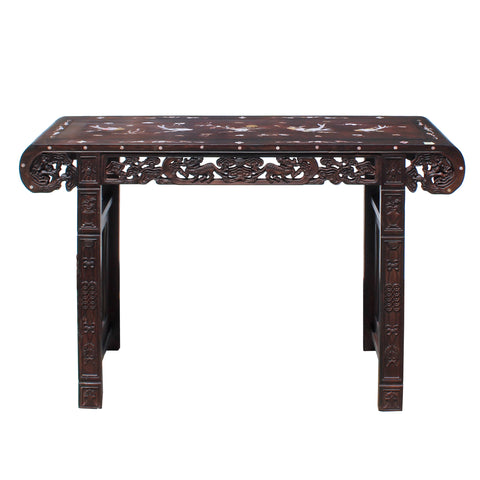 Chinese Brown Huali Rosewood Scroll Inlay Foo Dog Motif Altar Table cs4233S
