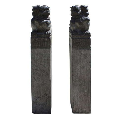 Chinese feng shui foo dog pole column
