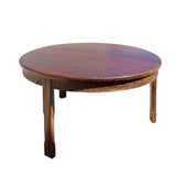 Chinese Oriental Large Brown Round 3 Legs Pedestal Dining Table cs4252S