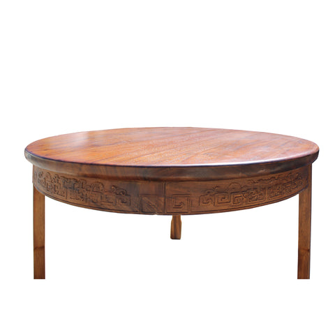 . Chinese Oriental Large Brown Round 3 Legs Pedestal Dining Table cs4252S