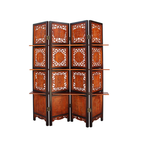 Chinese Scenery Carving 2 Brown Tone Wood Panel Floor Screen Display Shelf cs4256S