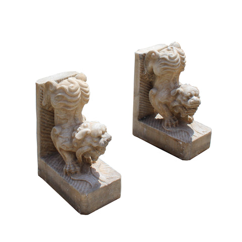 Chinese Pair Distressed Brown White Stone Fengshui Foo Dog