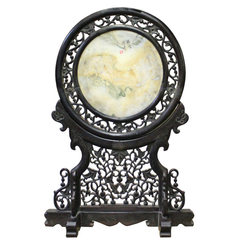 Chinese Dream Stone Fengshui Round Table Top Display Art cs4260S
