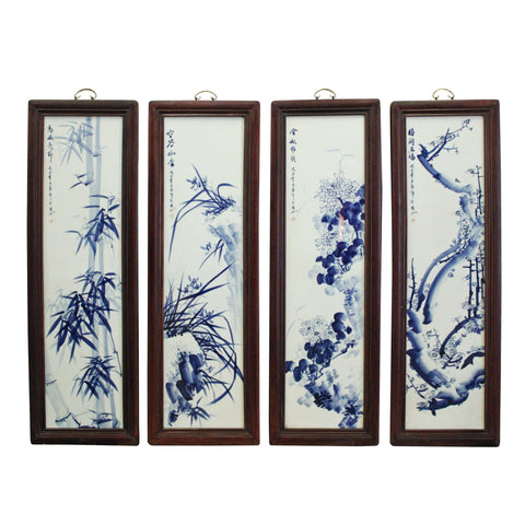 Chinese Blue White Porcelain Flower Birds Scenery Wall Panel Set cs4262S