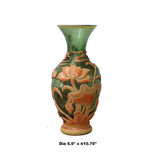 Chinese Peking Glass Green & Orange Handmade Kirin Lotus Vase cs4264S