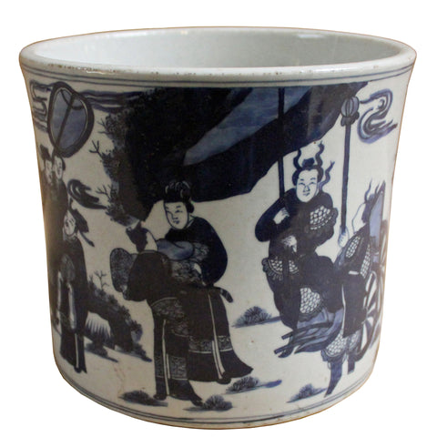Chinese Blue & White Porcelain People Scenery Brush Holder Pot cs4269S