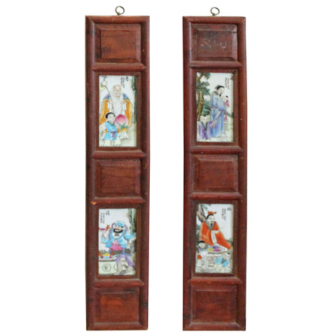 Chinese Vintage Pair Porcelain Wood Wall Panels Art cs4273S