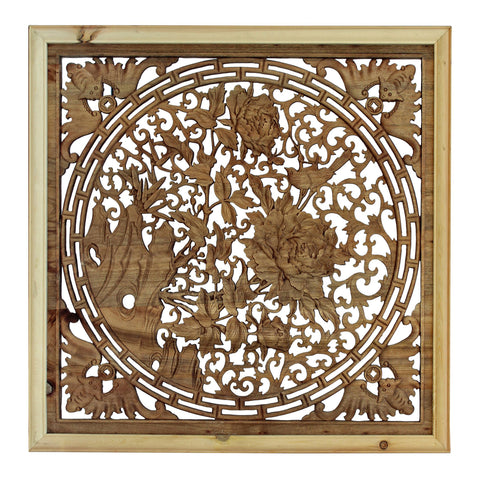 Chinese rectangular floral wood carved wall panel