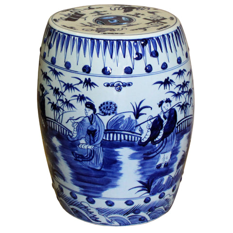 Chinese Blue & White Porcelain Round People Theme Stool cs4292S