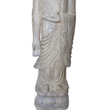 Chinese Light Gray Stone Carved Standing Medicine Buddha Statue cs4298S