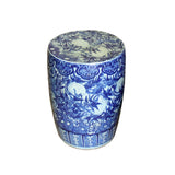 blue and white indoor outdoor stool