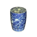 blue and white garden stool