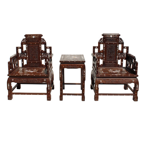 Chinese antique rosewood mother of pearl arm chair