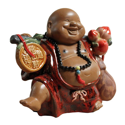 ceramic Happy Buddha with fortune and longevity peach