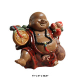 Chinese Ceramic Hands Up Carrying Fortune Happy Buddha Figure cs4306S