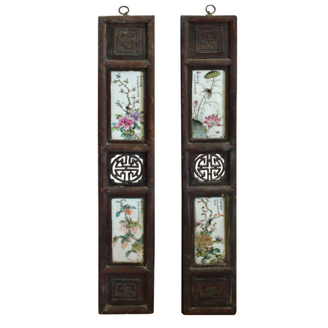 Chinese Vintage Pair Porcelain Wood Wall Panels Art cs4317S