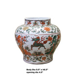 Chinese Handmade Multi-Color Flower Kirin Porcelain Pot Jar cs4321S