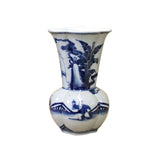 Chinese Blue White Porcelain Flower Shape People Scenery Vase cs4331S