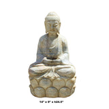 Chinese Distressed Brown White Stone Sitting Meditation Buddha Statue cs4336S