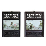 Chinese Vintage Pair Porcelain Wood Wall Panels Art cs4337S