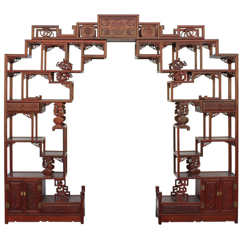 Chinese tall rosewood partition display cabinet