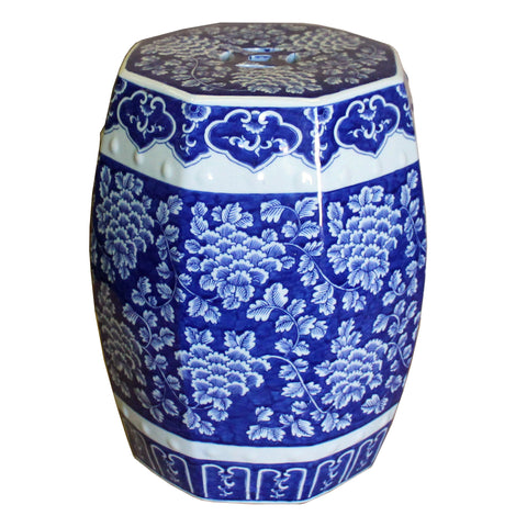blue and white hexagon porcelain stool