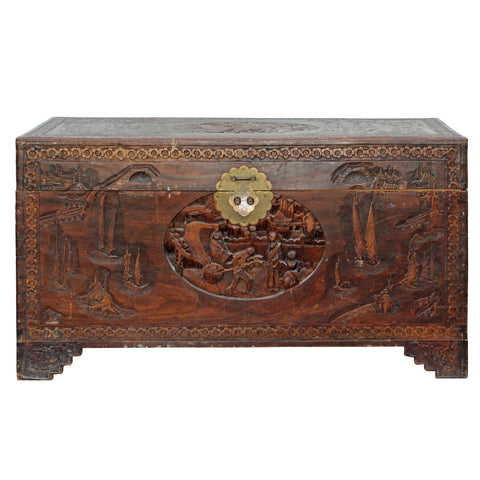 Oriental Asia Brown Relief Scenery Motif Carving Trunk Table cs4349S