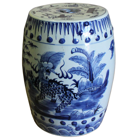 Chinese Blue & White Porcelain Kirin Round Stool Table cs4350S