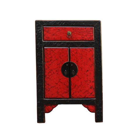 black red end table - small cabinet - nightstand