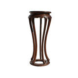 Chinese Brown Tall Round 5 Legs Plant Stand Pedestal Table cs4366S