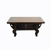 Brown Rosewood Oriental Dragons Carving Rectangular Display Table Stand cs4369S