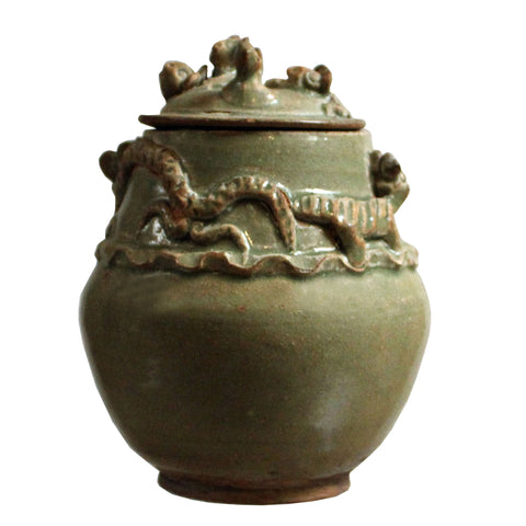 Chinese Handmade Ceramic Gray Green Animal Motif Jar