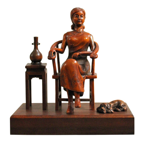 Handmade Resin Lady with Dog Table Top Display Figure