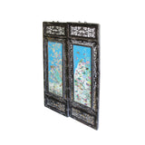 Pair Carved Chinese Huali Turquoise Blue Porcelain Scenery Wall Panels cs4379S