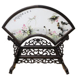 Chinese Wood Frame Porcelain Plaque Table Top Screen Display cs4382S