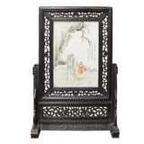 Chinese Wood Frame Porcelain Plaque Table Top Screen Display cs4383S