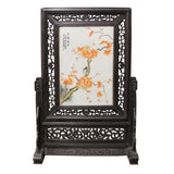 Chinese Wood Frame Porcelain Plaque Table Top Screen Display cs4384S