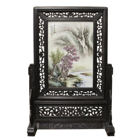 Chinese Wood Frame Porcelain Plaque Table Top Screen Display cs4385S