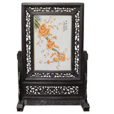Chinese Wood Frame Porcelain Plaque Table Top Screen Display cs4386S
