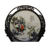 Chinese Wood Frame Porcelain Plaque Table Top Screen Display cs4387S