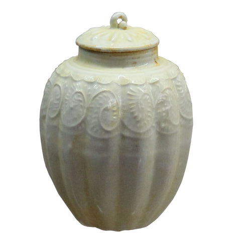 Chinese Handmade Ceramic Cream White Floral Motif Jar cs4414S