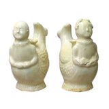 Chinese Pair Ceramic Off White Light Cream Kid Fish Vases