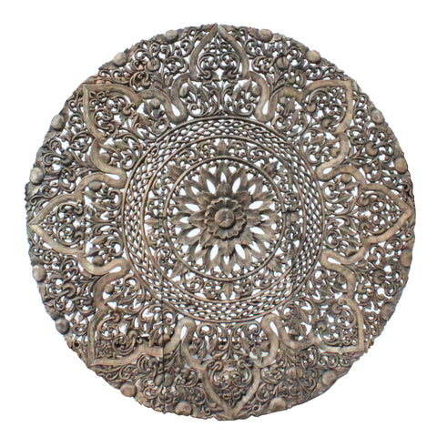 round carved flower panel