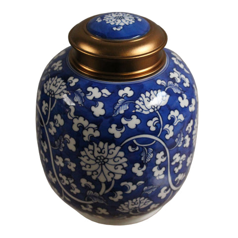 Oriental Handmade Blue White Porcelain Metal Lid Container Urn