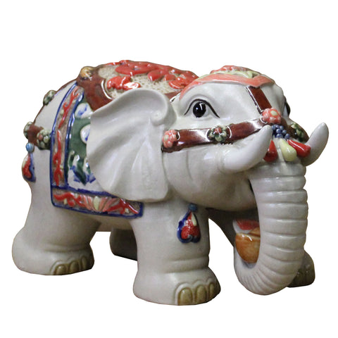 Ceramic Elephant Trunk Holding Ingot & Character Decor Figure cs4436S