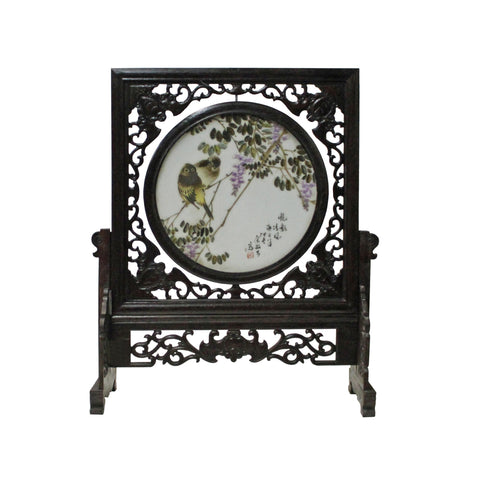 Chinese Wood Frame Porcelain Plaque Table Top Screen Display cs4444S